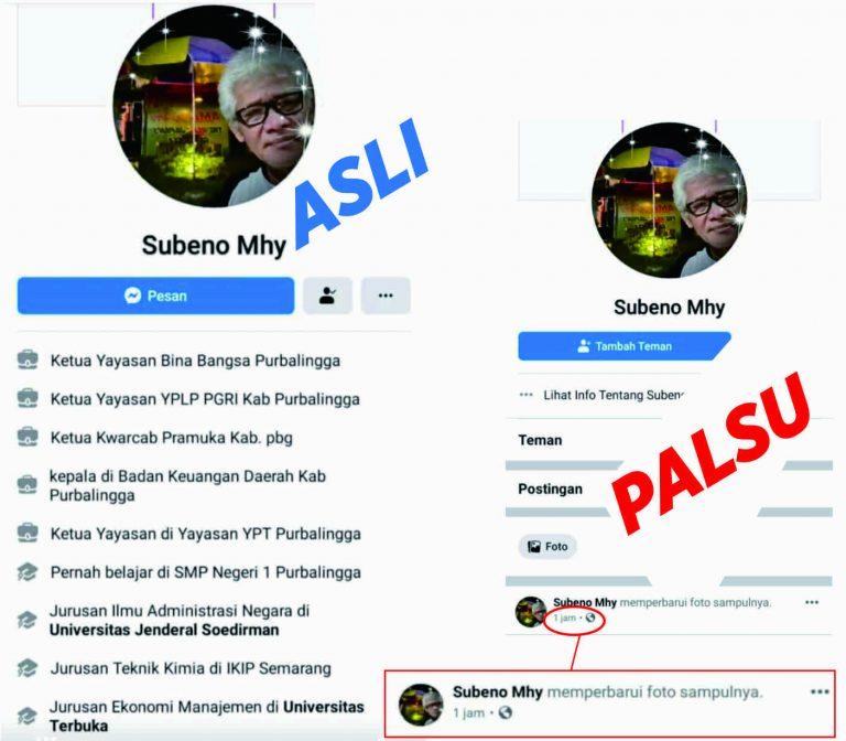Akun Facebook Ka Kwarcab Purbalingga, Kak Subeno Dipalsukan untuk Menipu
